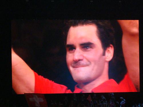 A tearful Federer