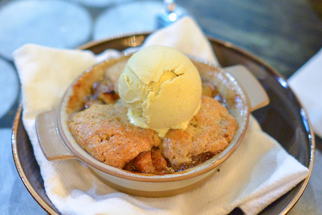 Apple Cobbler autumn spiced apples, homemade vanilla ice cream