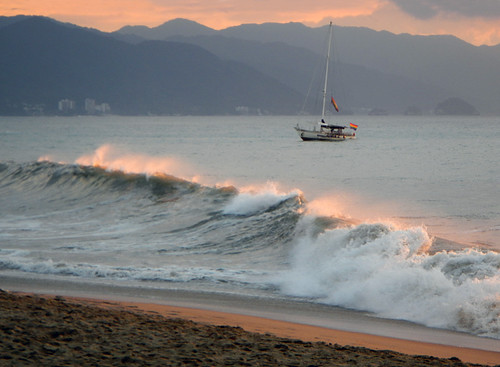 Mexican Sunset Catching the Waves in Puerto Vallarta, Mexico