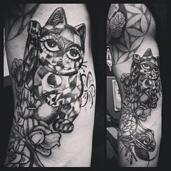 GET HOLIDAY TATTOO GIFT CERTIFICATES ONLINE AT www.slctattoos.com   Hope everyone is having a great weekend! Madison did this maneki-neko. Please follow her on Instagram @madisontease     GET HOLIDAY TATTOO GIFT CERTIFICATES ONLINE AT www.slctattoos.com