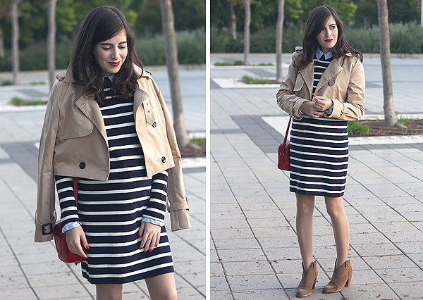 gap stripe sweater dress, gap dress, stripe dress, cropped trench coat, booties, בלוג אופנה, טרנץ', מעיל טרנץ', שמלת פסים, פסים, גאפ, מגפונים