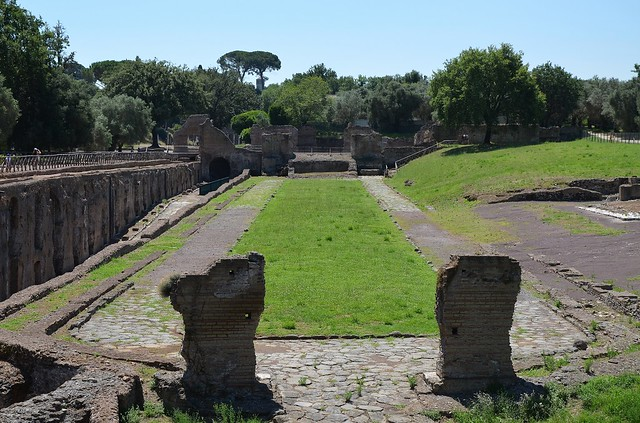 The double paved way leading to the Grande Vestibolo next to the Antinoeion, Hadrian's Villa