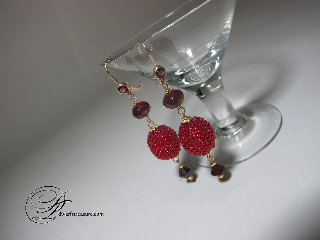 Stylish ruby red beaded earrings with Swarovski crystals