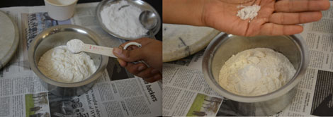 adding salt and sugar to all purpose flour