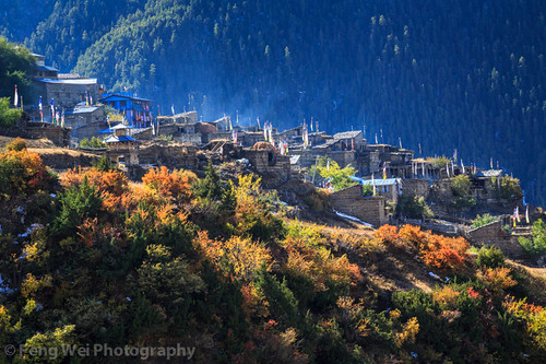 travel autumn nepal color beautiful horizontal landscape asia village view outdoor smoke scenic tibetan remote annapurnacircuit annapurna prayerflag pisang gandaki upperpisang annapurnaconservationarea