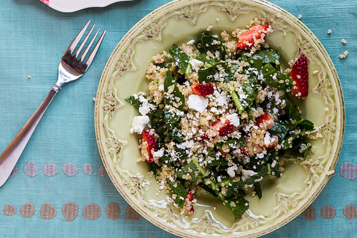 Kale and Quinoa Salad with Strawberries and Goat Cheese