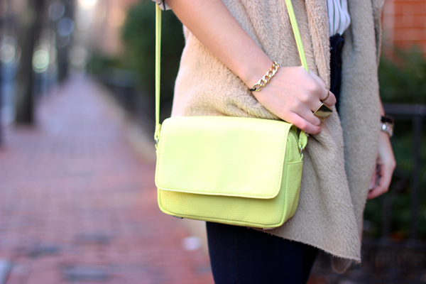 neon yellow purse