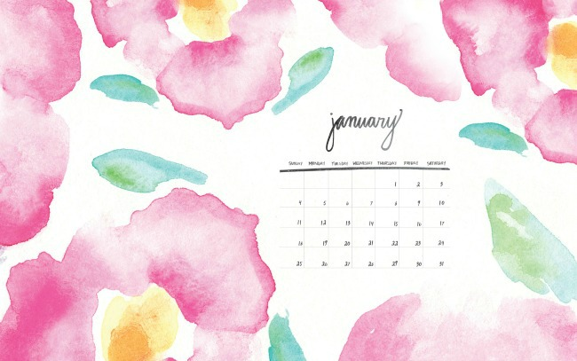 Calendario stampabile gratuito-Hello-Monday-January2015-Watercolor-Calendar-650