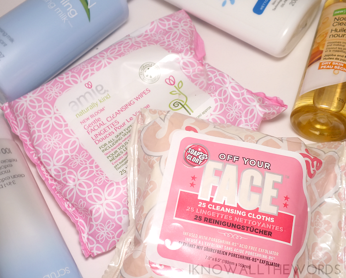 amie and soap and glory facial cleansing wipes
