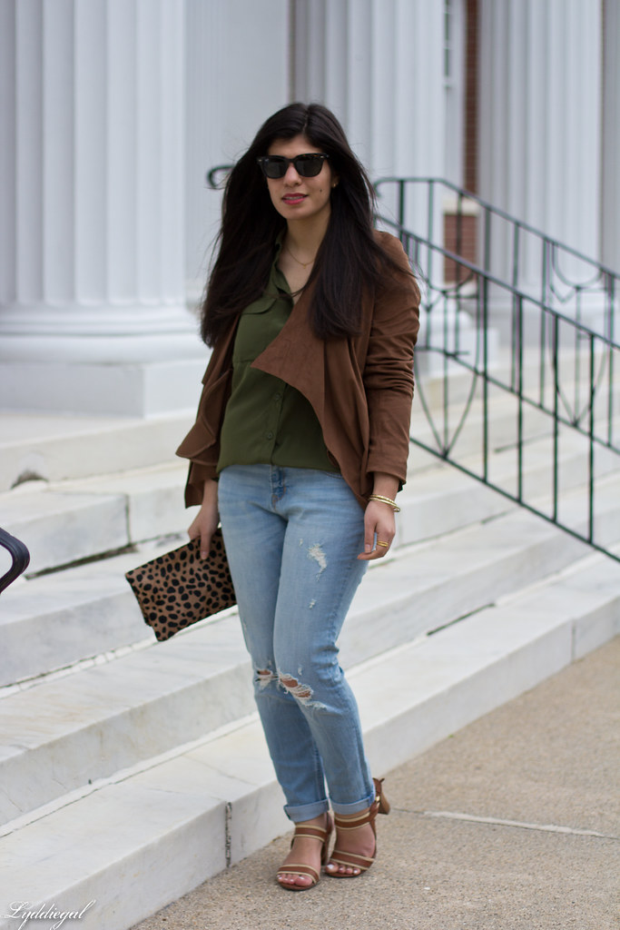 green button down, brown draped jacket, distressed denim-4.jpg