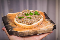 Lentils with garlic on a slice of bread