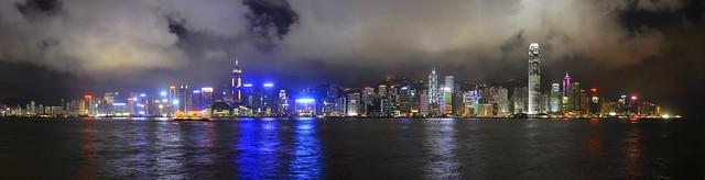 Hong Kong island by night - panorama