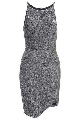 topshop lurex wrap dress silver