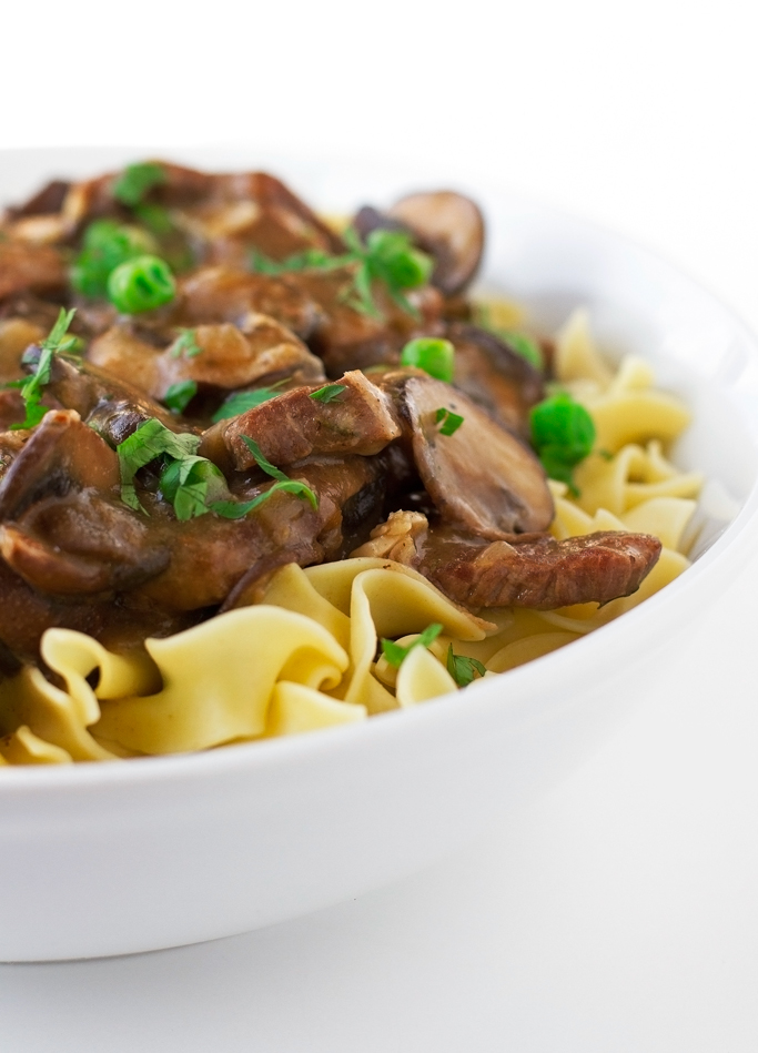 Beef Stew with Mushrooms over Egg Noodles - An easy to make stew with ...