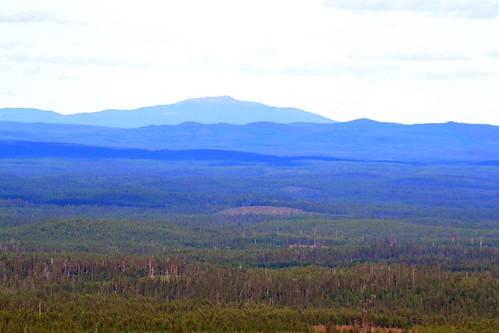 A view east of  Valtavaara: Mt. Nuorunen 40 km away in  Russia (Ruka, Kuusamo, 20140709)