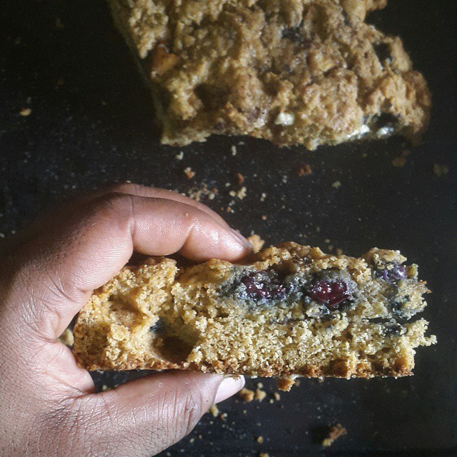 Cut up then buttered.  Yum.  Blueberry and apple bake  #vscocam #vscogram #vscolife #vscodaily #vscocollections #kitchenbutterfly #instafood #sweet #baked #quickbread #blueberries #apples #sautéedapples #quickbreads