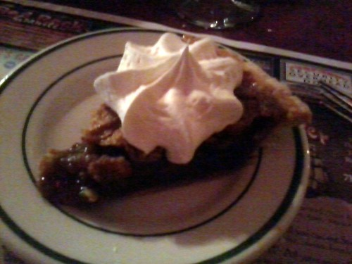 Pecan Pie With Whipped Cream.