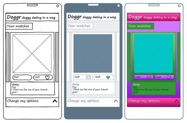 Sketch, simple diagram and branded themes applied to the same wireframe