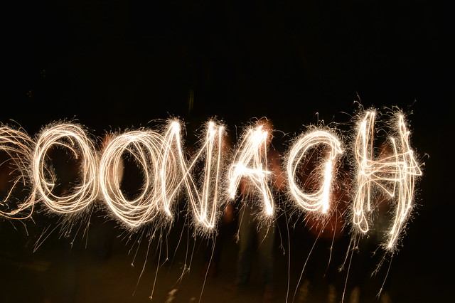 This is a photo of sparklers spelling out Oonagh