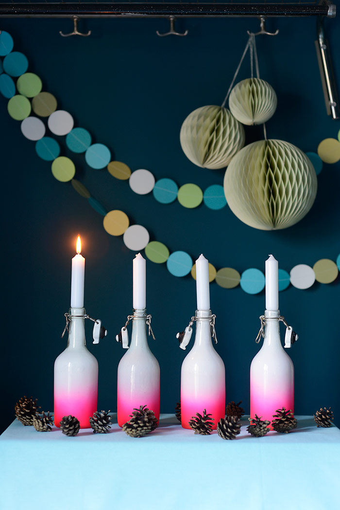 DIY Ombre Painted Bottles aka Candle Holders
