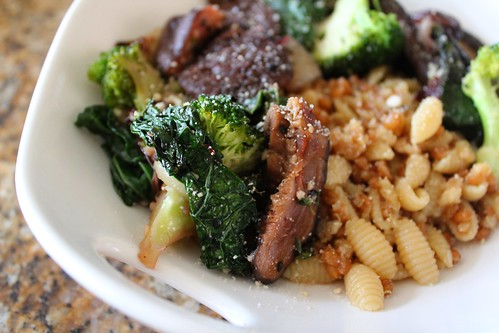 Braised Shiitake & Broccoli Over Farro, Quinoa & Pasta