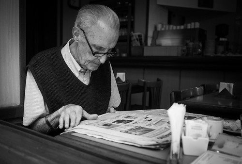 reading the newspaper