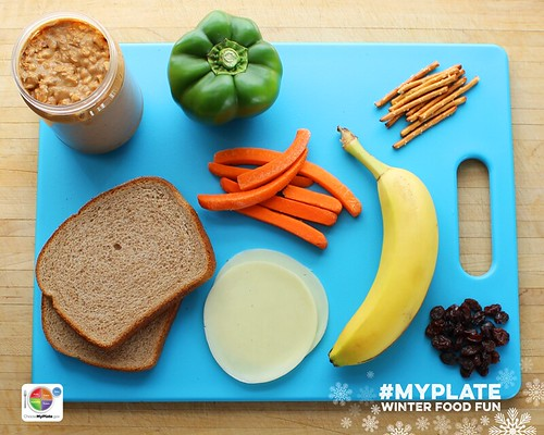 Edible MyPlate Snowman. Step 1.