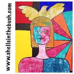 Gelli print on acrylic background self portrait Picasso style! #gelliarts #gelliprint #gelliprints #studyingunderthemasters