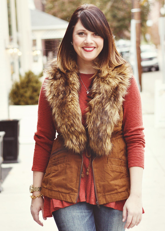 Anthro Swing Tunic + Fur Vest6