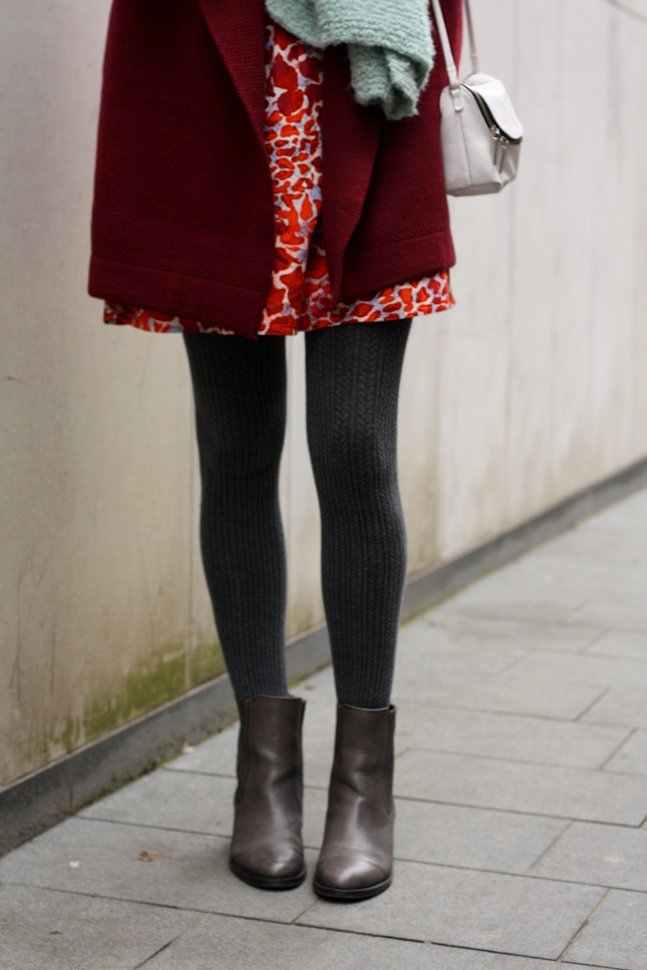 burgundy coat cable knit tights printed skirt