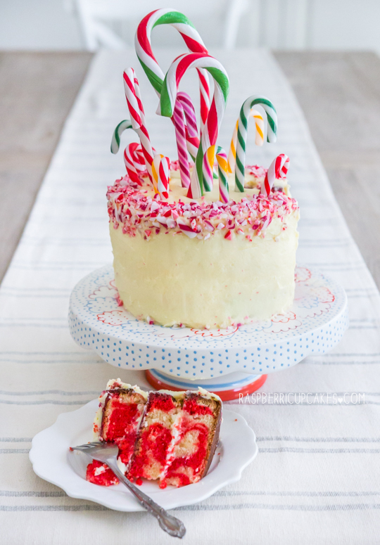 Candy Cane Peppermint and White Chocolate Swirl Cake