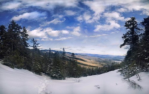 blue winter panorama white mountain snow nature clouds forest woods hiking newengland newhampshire