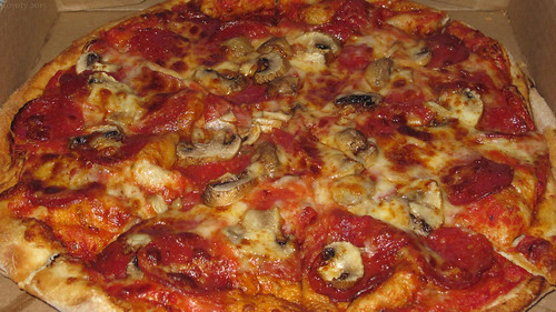 Double pepperoni with mushroom pizza