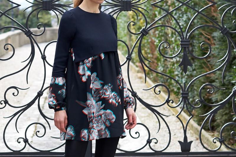 3d Print Crepe Silk And Wool Dress