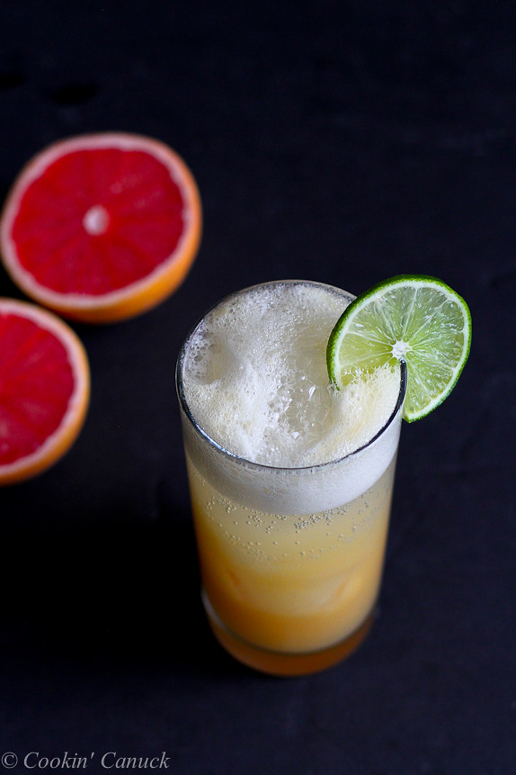 Pink Grapefruit, Pineapple and Ginger Sparkler...A fantastic way to hydrate, with a kick of natural flavors! {No added sugar} | cookincanuck.com #healthy