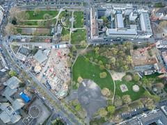 Hansaplatz, Klingelpützpark, Central Krankenversicherung und Baustelle am Geronswall