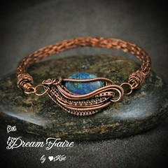 Cradle of Wisdom Azurite Copper Bracelet with Viking Knit