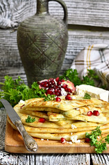 Flat cake with filling from potato,brynza and herb…