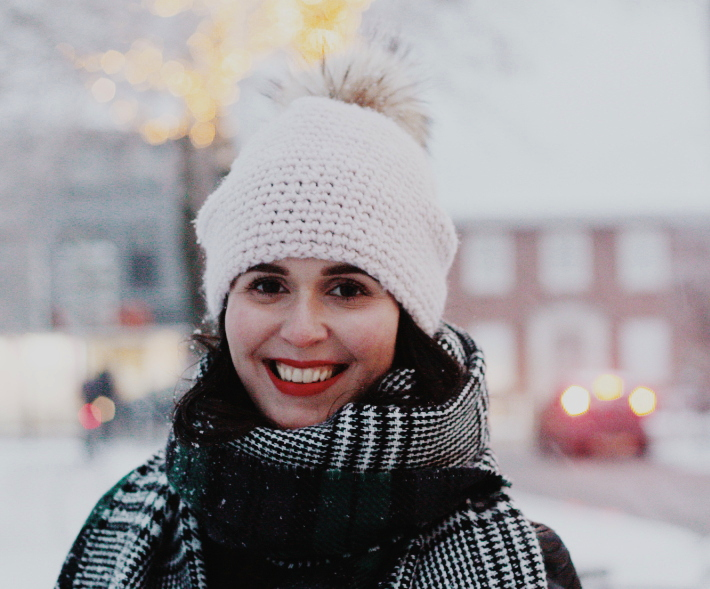 pom pom hat, plaid scarf, snow