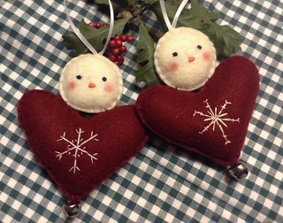 Snowman Embroidered Heart Ornament