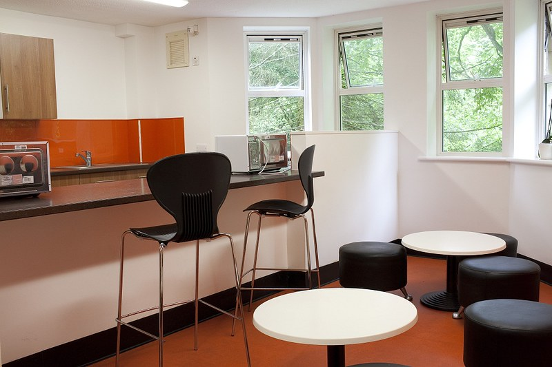A shared kitchenette in Polden Court
