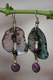 Chartreuse,Purple,Red and Yellow Porcelain Drop Earring Set E - 0166