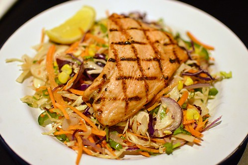 Mexican slaw + grilled salmon