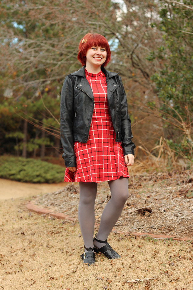 Red Plaid Mock Turtleneck Dress, Leather Jacket, Gray Tights, and Black Ankle Boots