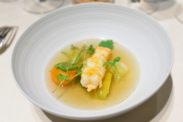 langoustine in its broth with seasonal vegetables