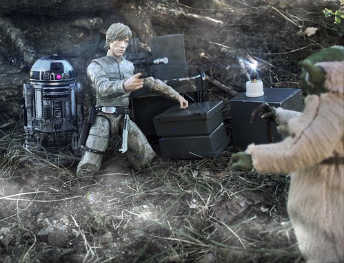 Yoda: Feel like what?Luke: ...like we're being watched! Yoda: Away put your weapon I mean you no harm.