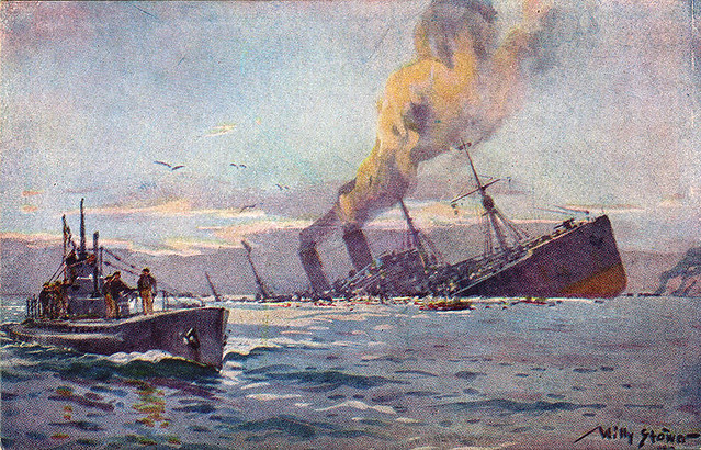Painting of a German U-Boat