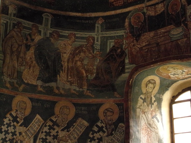 Jesus delivering the Eucharist to apostles, Central Apse, Pavlica Monastery, 14th Century
