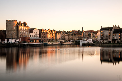 city uk longexposure autumn sunset sky urban water skyline architecture canon river landscape photography eos golden scotland town haze edinburgh glow cityscape harbour britain scenic sigma shore nd leith waterscape auldreekie hsm sigma1770mm nd1000 canoneos70d canon70d