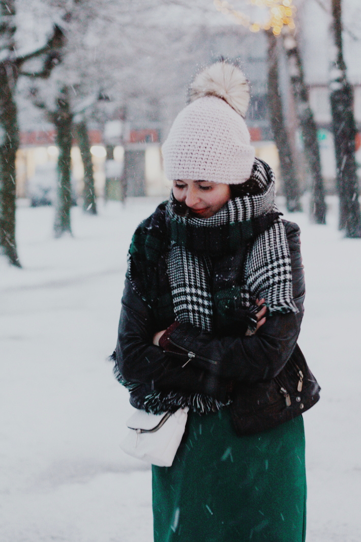 plaid scarf, snow, pom pom hat
